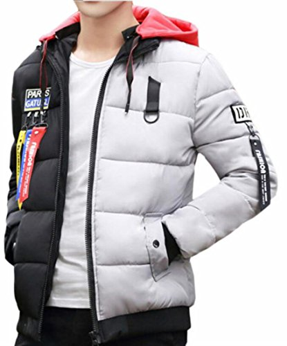 today-UK Mens Thicken Warm Hooded Solid Color Fleece Lined Parkas Coats Grey