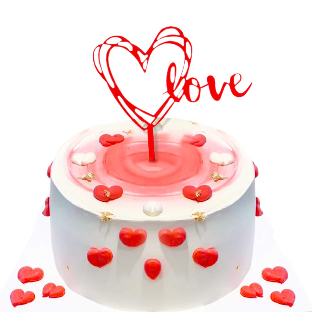 Yemeono Red Love 2 Pcs Cake Topper for Lovers Heart Shape Birthday Valentine's Day Supplies
