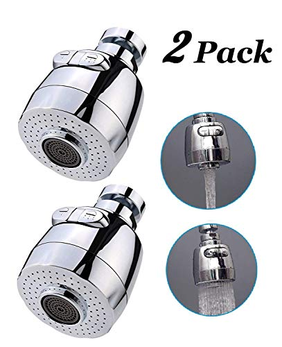 Sinrier 2 pack 360-Degree Swivel Water Swivel Faucet Aerator Nozzle Filter Water Saving Tap Diffuser Kitchen Accessories ()