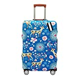 XMBHome Printed Luggage Cover Spandex Travel Suitcase Protective Cover Fits 18-32 Inch (M(22-24 inch luggage), Deer)