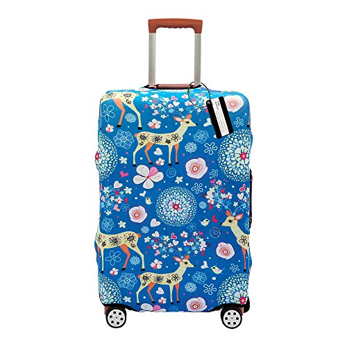 XMBHome Printed Luggage Cover Spandex Travel Suitcase Protective Cover Fits 18-32 Inch (L(26-28 inch luggage), Deer)