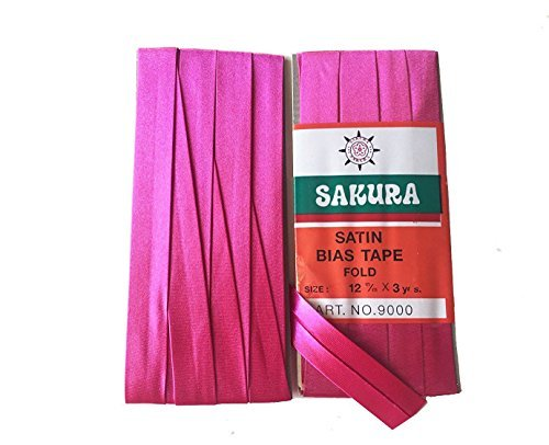 Sakura Satin Bias Tape Fold - Single Fold #Deep Pink Color 12 Mm. (3 Yards / Pack) Set of 4