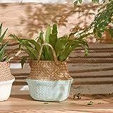 Flower Basket,LtrottedJ Seagrass Wicker Basket Wicker Basket Flower Pot Folding Basket Dirty Basket (Blue)