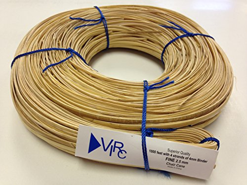 Chair Cane Fine 2.5mm 1000 ft coil with 4 strands of 4mm Binder Cane by V.I. Reed & Cane, Inc.