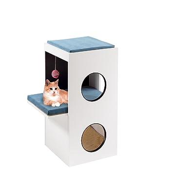 Feplast Mueble de Madera para Gatos Blanco, con Casita y Área Rascadora de Sisal, 40 x 55 x 80 Cm: Amazon.es: Productos para mascotas