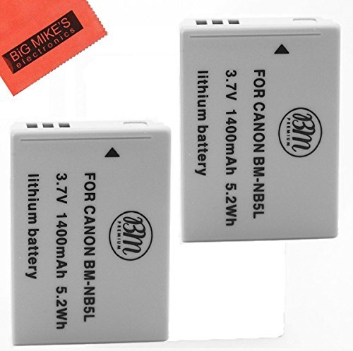BM Premium 2-Pack of NB-5L Batteries for Canon PowerShot SX230 HS, SX210 HS, SX200 HS, S100, S110 Digital Camera