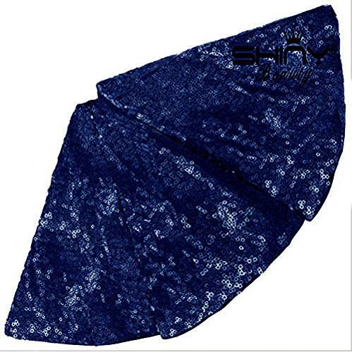- ShinyBeauty Sequin Christmas Tree Skirt 30Inch-Navy Blue-Sequin Fabric Sewing for Holiday Decoration -1026E