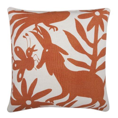 Thomas Paul Pillow Orange (thomaspaul Linen/Cotton Otomi Pillow, 22 by 22-Inch, Alcazar)