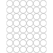 """(6 SHEETS) 288 1-1/4"""" INCH ROUND WHITE STICKERS FOR INKJET & LASER PRINTERS - 8-1/2""""X11"""" STANDARD SHEETS LABELS"""