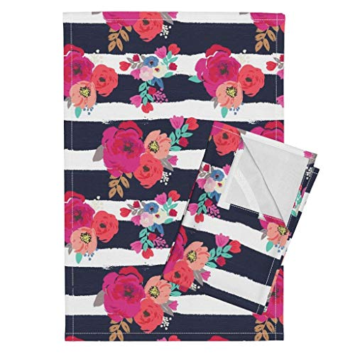 (Roostery Floral Tea Towels Floral Sweet Pea Floral Stripe Floral Stripes Boho Blue White Pink Floral Flower Stripe Navy by Crystal Walen Set of 2 Linen Cotton Tea Towels)