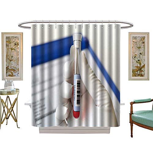 luvoluxhome Shower Curtains with Shower Hooks Health Care Blood Test Bathroom Set with Hooks W48 x L72