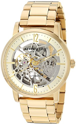 Kenneth Cole New York Male Automatic-self-Wind Watch with Gold Strap, Stainless Steel, 22 (Model: KC50054004)