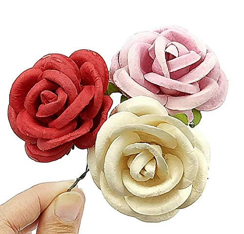 NAVA CHIANGMAI Artificial Mulberry Paper Big Rose Flower for Wedding Floral Arrangements and Home Decoration 40-45 mm.15 pcs. (Pink) from NAVA CHIANGMAI FLOWERS
