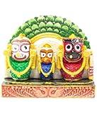 Utkalamrita Exquisite Lord Jagannath, Balabhadra, Subhadra Showpiece Prabha Green