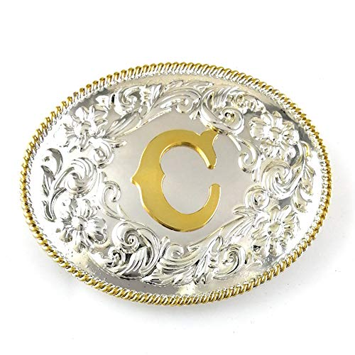 Belt Buckle Letter - LAXPICOL American Big Heavy Duty Letter C Leaf Belt Buckle For Men Silver Tone