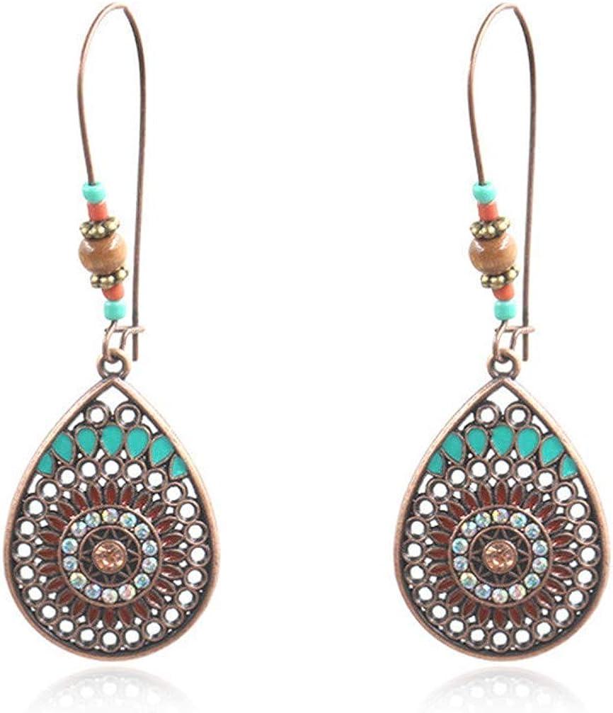 Bohemian National Style Earrings, Boho Hollow Water Drop Shaped Alloy Long Eardrop Dangle Drop for women Girls Gifts