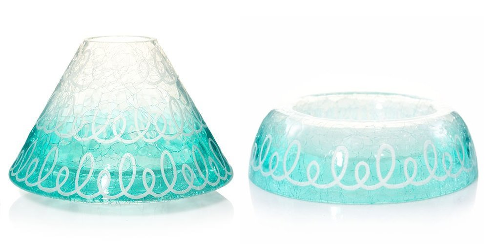 Yankee Candle Blue Easter Springs Crackle Raised Jar Candle Holder with a Jar Shade Topper