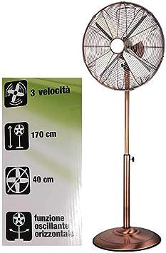 Ventilador de pie de metal color cobre - Diámetro de la placa ...