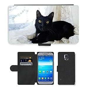 PU LEATHER case coque housse smartphone Flip bag Cover protection // M00108042 Gato Negro Negro de mascotas y negro // Samsung Galaxy S5 S V SV i9600 (Not Fits S5 ACTIVE)