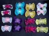 30 Dog Hair Bows 2 inch size – 3D with Shiffon Flower and Beads – Excellent for Girl Doggies!!!-handmade for Grooming, My Pet Supplies