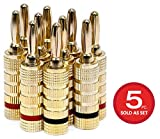 Monoprice 109436 Gold Plated Speaker Banana Plugs