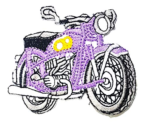 Purple Motorbike Motorcycle Classic Vintage MC Club Cartoon Children Kid Patch Clothes Bag T-Shirt Jeans Biker Badge Applique Iron on/Sew On Patch