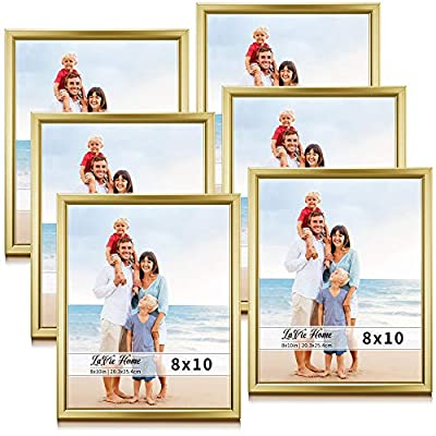 LaVie Home 8x10 Picture Frames (6 Pack, Gold) Simple Designed Photo Frame with High Definition Glass for Wall Mount & Table Top Display, Set of 6 Classic Collection - √ SIMPLISTIC LINE DESIGN - LaVie Home 8 x 10 gold picture frame has a clean lines and minimalist design that it looks bright and tasteful, fits any decor,whether it's modern or vintage. √ HIGHEST QUALITY - Crafted by Durable PS (acrylic-resin) molding construction, clean lines with attractively finished. Every frame made with perfect attention to details. √ WALL MOUNT or TABLE TOP - Includes hanger hooks to easily hang artwork or photographs in either portrait or landscape orientation. Versatile kickstand easel lets you display either horizontally or vertically. - picture-frames, bedroom-decor, bedroom - 51knqvIFPtL. SS400  -