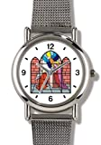 Virgin Mary and Angel Gabriel (Stained Glass) Christian Theme - WATCHBUDDY ELITE Chrome-Plated Metal Alloy Watch with Metal Mesh Strap-Size-Large ( Men's Size or Jumbo Women's Size )