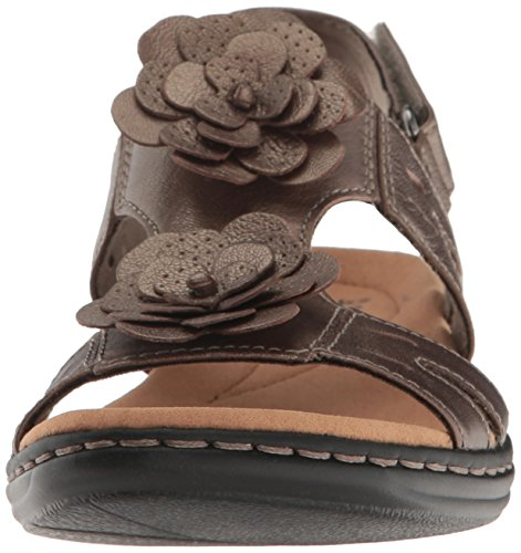 Clarks Kvinders Leisa Claytin Flad Sandal Tin Metallisk Læder jS9XasK