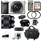 Sony ILCE6000L/S ILCE6000LS ILCE-6000LS Alpha A6000 Mirrorless Digital Camera with 16-50mm Lens (Silver) + Sony SEL1018 10-18mm Wide-Angle Zoom Lens + 32GB Memory Card + Battery + Accessory Kit