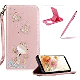 Diamond Leather Case for Samsung Galaxy S6,Rose Gold Strap Wallet Cover for Samsung Galaxy S6,Herzzer Luxury 3D Decor Design Stand Glitter Magnetic Smart Leather Case with Soft Inner