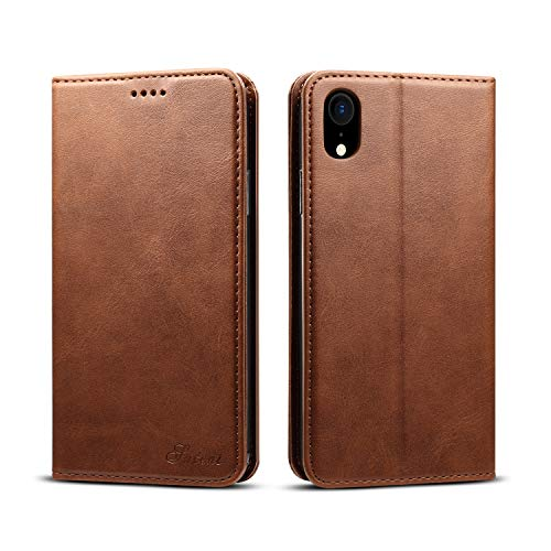 Leather Wallet Case Compatible with Apple iPhone XR 6.1 inches,TACOO Durable Kickstand Brown Shell Slim Fit Card Money Slot Fold Protective Men Women Cover for iPhone XR 2018