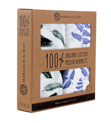 Organic Muslin Swaddle Blanket Set by Margaux & May - Blue Fern & Green Feather - Ultra Soft Muslin Swaddle Blankets - Perfect Baby Shower Gift