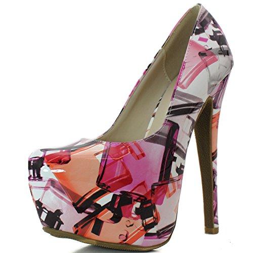Femminile Estreme Punta Moda Alta Nascosta Pompa Stiletto Piattaforma Punta Tacco Sexy Multi Pat A Scarpe Rosa q70rqpx