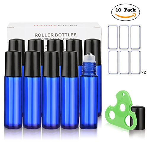 Price comparison product image Essential Oil Roller Bottles 10ml (Cobalt Blue,  Pack of 10) - Stainless Steel Roller,  Individual Package per Bottle,  Opener n Labels Included - Glass Roller Bottles for Essential Oils by Handy Picks
