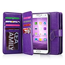 Samsung Galaxy S5 Case, S5 Neo Wallet Jwest Premium Leather Folio Case [Wallet Function] Magnetic Fashion Wristlet Lanyard Hand Strap Purse Soft Flip Book Style Multiple Card Slots Cash Compartment Pocket with Magnetic Closure Case Cover Skin for Samsung Galaxy S5 / S5 Neo - Purple