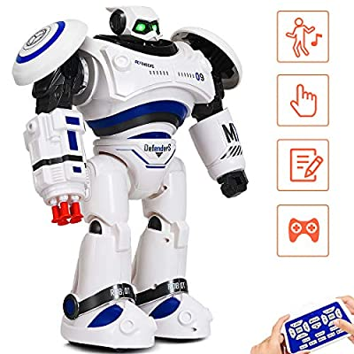 Costzon Remote Control Robot Toy, RC Programmable Robot for Kids Multi Function Shoots Missiles Flashing Lights Walks Dances Sounds, Smart Robotics for Children Boys Girls