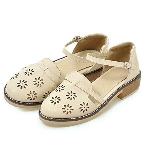 TAOFFEN Mujer Sandalias Comodo Cut-out Al Tobillo Tacon Medio Zapatos Beige