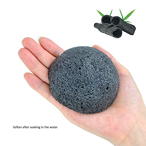 (NEWGO Facial Konjac Sponge with Activated Bamboo Charcoal for Deep Cleansing -)