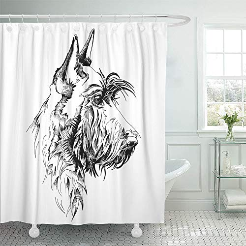 Emvency Shower Curtain Waterproof Polyester Fabric 72 x 72 inches Drawing Scottish Terrier Dog Animal Black Breed Canine Cute Domestic Drawn Set with Hooks Decorative -