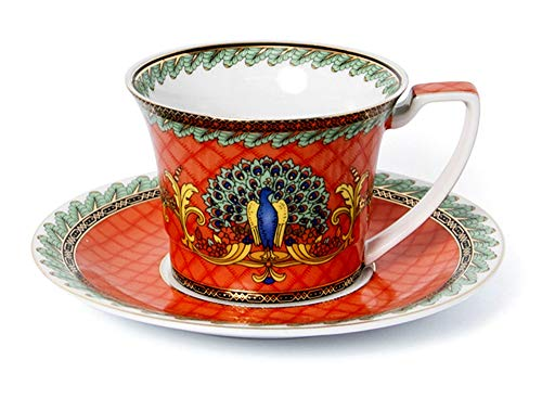 Euro Porcelain 12-Pc. Tea/Coffee Cup and Saucer Set (7 oz.) 24K Gold-Plated accents, Premium Bone China Service for 6 (Red Peacock) ()