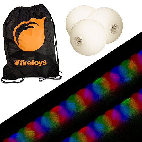 Glow Juggling Ball Set - 3X Strobe LED Juggling Balls & Firetoys Bag -