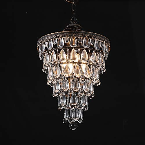 Wellmet 14 Inch Crystal Chandelier,Farmhouse Bronze Bathroom Chandeliers,4-Light Foyer Lighting Hanging Pendant Light Fixture