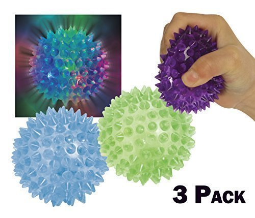 Light Up Flashing Spiky Ball Bundle - Purple Blue Green 3 Pack
