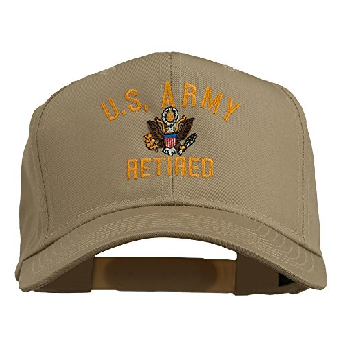 (e4Hats.com US Army Retired Military Embroidered Cap - Khaki OSFM)