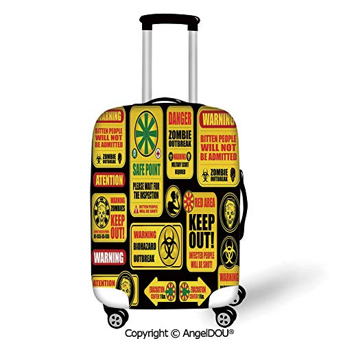 AngelDOU Fashion Elastic Fabric Luggage Protective Cover Zombie Decor Apocalypse Signs Attention Danger Safe Point Evil Phrase Modern Image Yellow Grey Red Suitable18-28 Inch Trolley Case Suitcase Du
