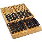 Utoplike In-Drawer Bamboo knife block Drawer Organizer and Holder (16 knife organizer)