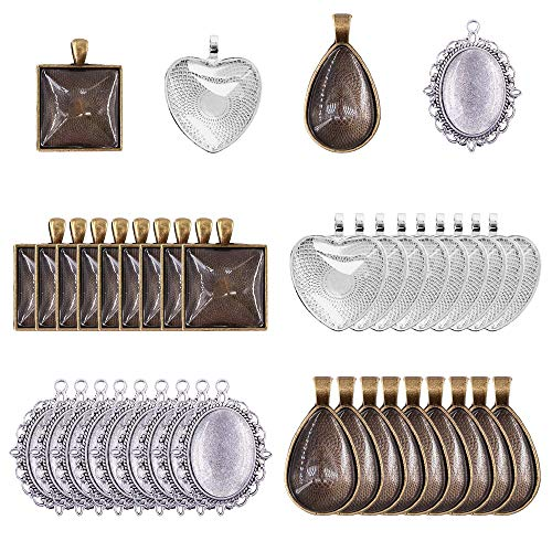72Pieces 4 Styles Pendant Trays 36pcs Square,Teardrop,Heart and Oval and 36pcs Bright Glass Cabochon Dome Tiles for Crafting DIY Jewelry Gift Making (Ovale Gläser)