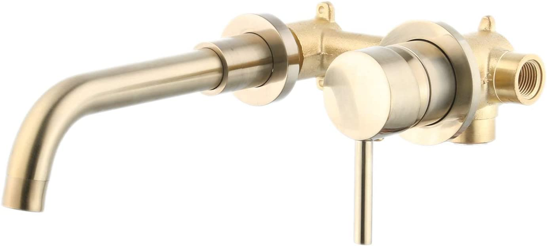 JRUIA Gold Mitigeur de lavabo encastrable 2 trous avec levier pivotant /à 360/° et inverseur en laiton 20 cm