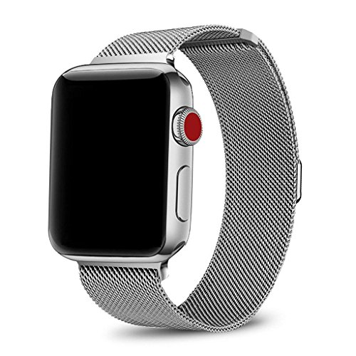 SICCIDEN Compatible for Apple Watch Band 38mm, Milanese Mesh Loop Magnetic Closure Clasp Stainless Steel Replacement iWatch Band Compatible for Apple Watch Series 3 Series 2 Series 1, Silver by SICCIDEN (Image #2)